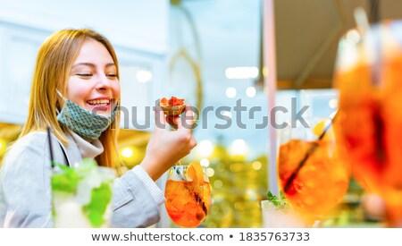 Szőke nő boldog szőke nő fiatal nő néz mosolyog Stock fotó © mirc3a