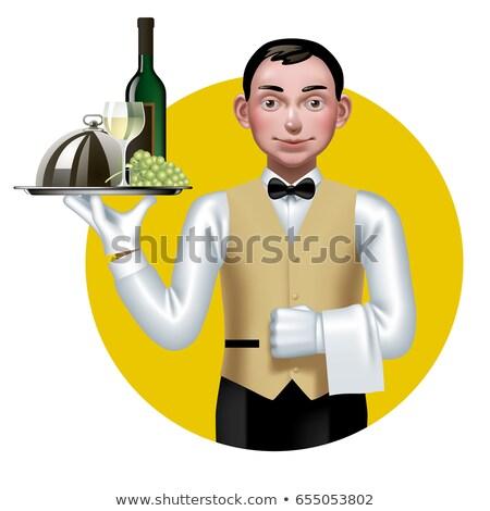 Pincér hordoz üveg bor tálca kéz Stock fotó © photography33