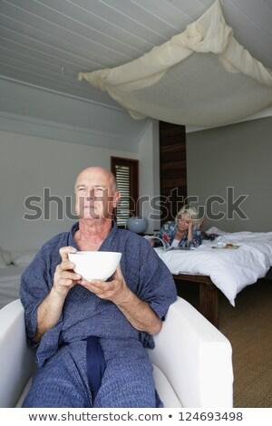 Pár lusta kezdet nap nő kávé Stock fotó © photography33