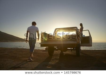 Foto stock: Camiones · aislado · blanco · coche · camión · azul