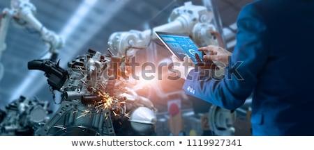 Robot retro arany férfi kulcs jókedv Stock fotó © davinci
