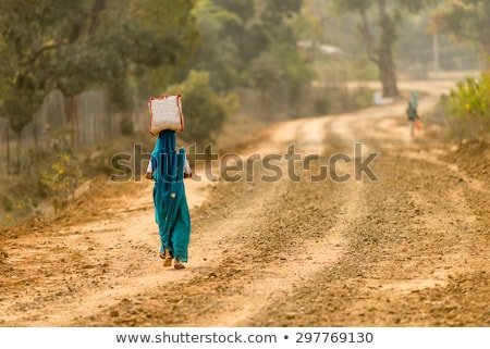 indian · femme · herbe · verte · heureux · maison - photo stock © ziprashantzi