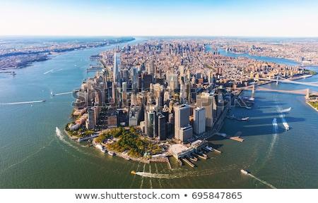 Manhattan nuit vue ville Voyage bâtiments Photo stock © HectorSnchz