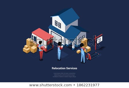 Relocation assistant staff carrying cardboard boxes Stock photo © stockyimages