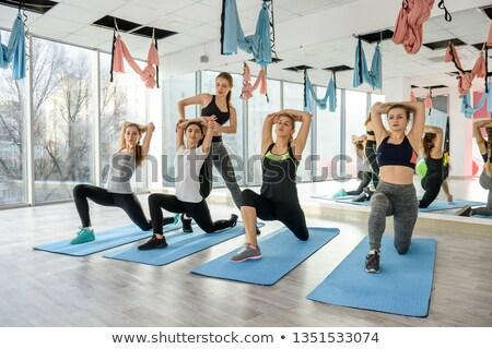 Stok fotoğraf: Aerobik · pilates · personal · trainer · yardım · kadın · grup