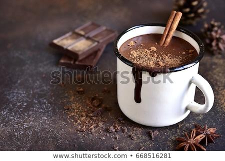горячий шоколад напиток взбитые сливки набор синий Сток-фото © klsbear