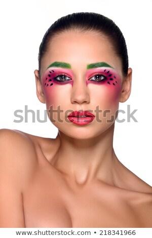 fiatal · boldog · lány · friss · zöld · dinnye · védősisak - stock fotó © gromovataya