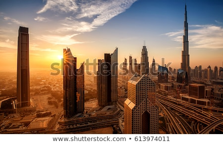 Dubaï centre-ville coucher du soleil photos architecture Photo stock © Anna_Om