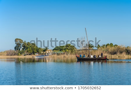 Albufera channel boats in el Palmar of Valencia stock photo © lunamarina