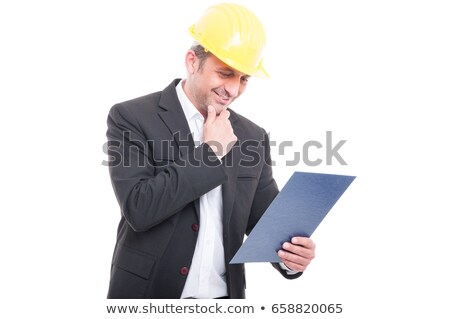 Férfi munkavédelmi sisak vágólap papír háttér üzletember Stock fotó © photography33