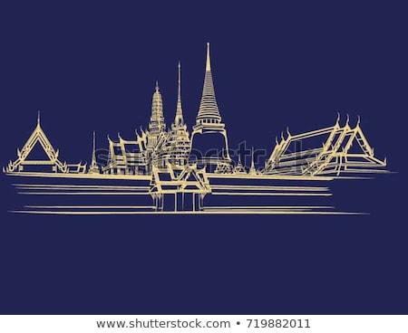 仏 · シルエット · 空 · 実例 · 花 · 行使 - ストックフォト © witthaya