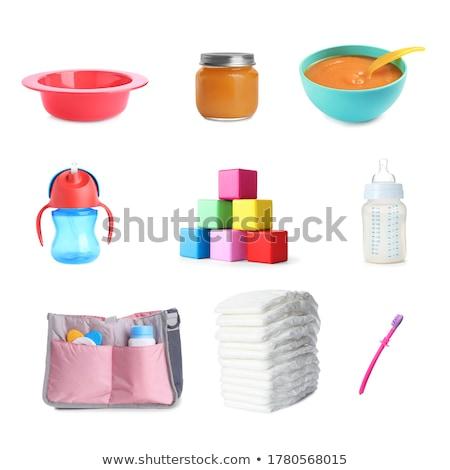 bebê · menino · fralda · escova · de · dentes · quadro · feliz - foto stock © dolgachov