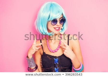 Boldog lány színes paróka portré arc szemek Stock fotó © acidgrey