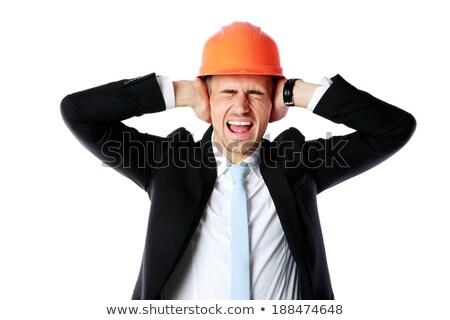 építőmunkás szemek arc építkezés kék munkás Stock fotó © photography33