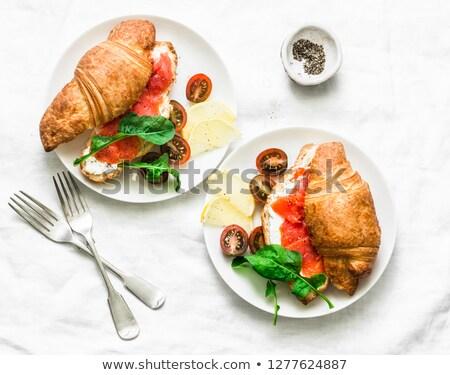 croissants · queijo · salmão · legumes · alface · tomates - foto stock © ivonnewierink