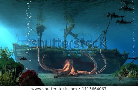 Vízalatti hajóroncs illusztráció hajó terv háttér Stock fotó © lenm
