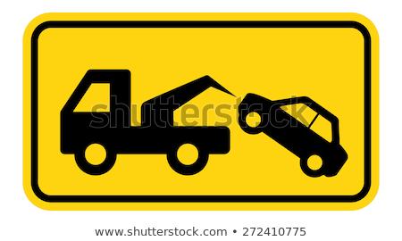 Foto stock: Aviso · longe · assinar · vetor · eps · caminhão