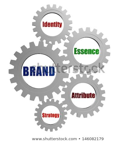 ストックフォト: Brand And Business Concept Words In Silver Grey Gearwheels