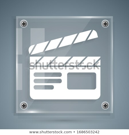 movie clapperboard icon grey glass, isolated on white background Stock photo © zeffss