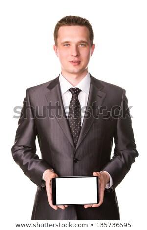 小さな · ビジネスマン · 作業 · 孤立した · 白 - ストックフォト © Len44ik