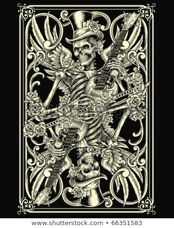 Skeleton gambler with poker cards, vector illustration Stock photo © carodi