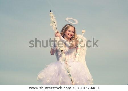 Boldog tini angyal lány íj nyíl Stock fotó © dolgachov