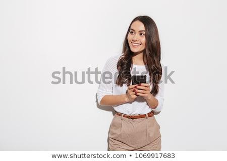 Lezser nő telefonál külső messze fiatal nő Stock fotó © feedough