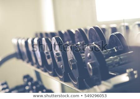 Blanc noir image rack haltères gymnase plein Photo stock © pixelsnap