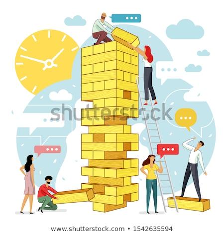 egyensúly · magas · döntés · 3D · kép · építkezés - stock fotó © silense