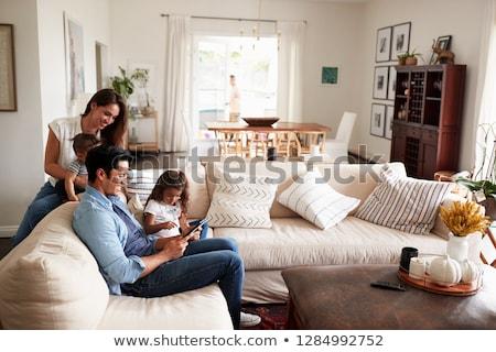 Familie woonkamer baby jongen moeder kind Stockfoto © justinb
