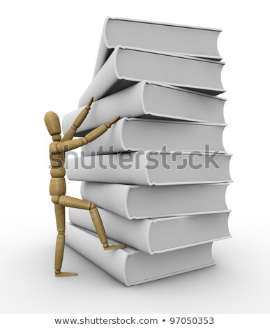 the wooden man climbs a ladder on a stack of books 3d rendering stock photo © cherezoff