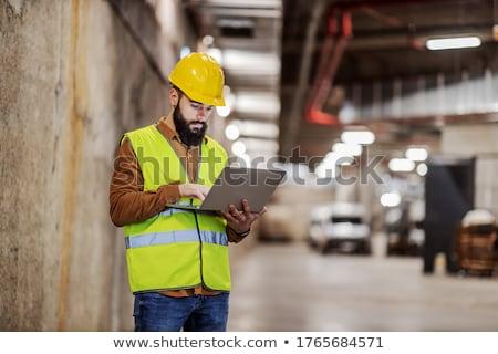 Laptop isolado branco homem construção Foto stock © Kirill_M