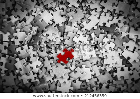 psychological concept on red puzzle stock photo © tashatuvango