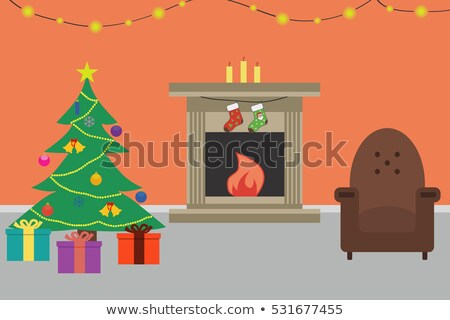 Christmas Fireplace Hearth and Stockings Landscape Stock photo © saje