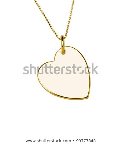 Gouden hart bloem meisje vrouwen metaal Stockfoto © cherju