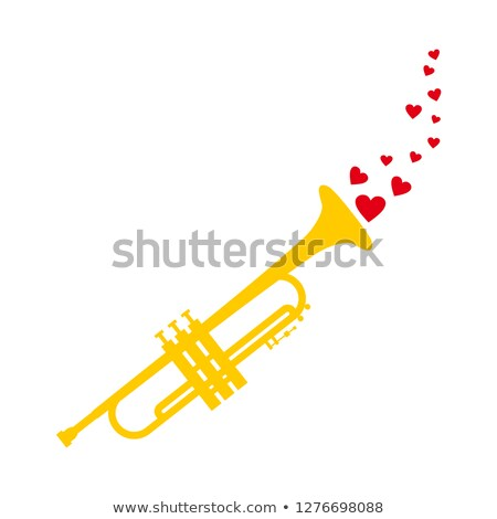 Stockfoto: Heart Love Music Trumpet Playing A Song For Valentine Day