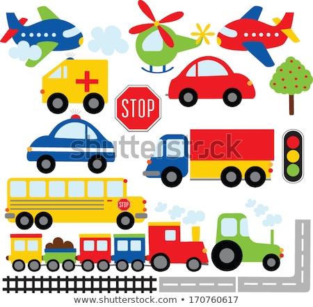 brinquedo · tráfego · carro · trem · isolado · cinza - foto stock © gewoldi