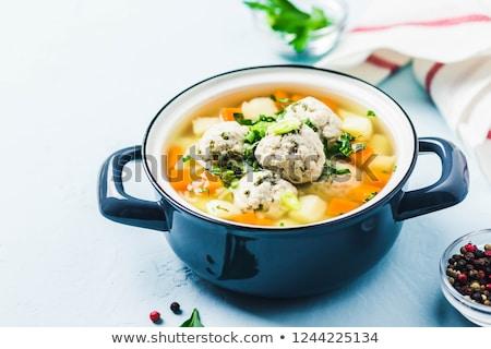 leves · húsgombócok · zöldségleves · tyúk · tányér · hús - stock fotó © varts