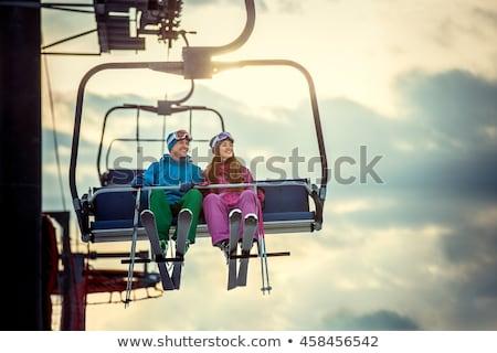 Kayak · asansör · örnek · kız · doğa · çift - stok fotoğraf © smuki