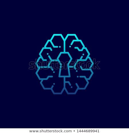 Cabeça buraco de fechadura ícone digital azul perfil Foto stock © tashatuvango
