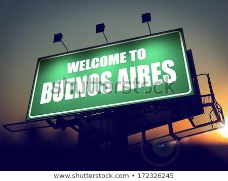 Stock fotó: óriásplakát · üdvözlet · Buenos · Aires · napfelkelte · zöld · emelkedő