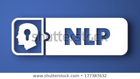 psychologie · bleu · design · style · blanche · bouton - photo stock © tashatuvango