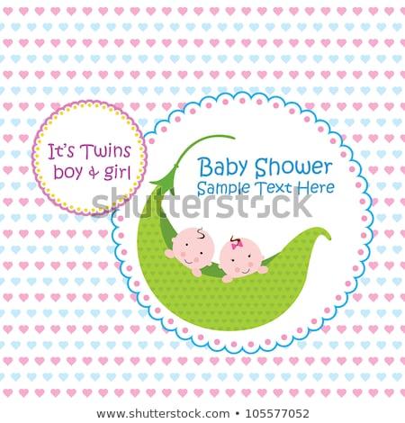 bebek · ikizler · duş · kart · arka · plan · erkek - stok fotoğraf © balasoiu