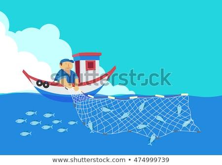 漁網 ボート 孤立した 白 産業 釣り ストックフォト © ivonnewierink