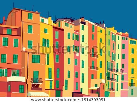 Straat huizen illustratie huis gebouw bouw Stockfoto © vectorpro