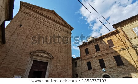 church and medieval castle in small italian town stock photo © rglinsky77
