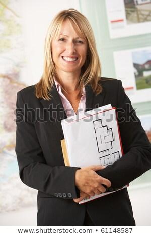Portrait Homme agent immobilier bureau téléphone maison Photo stock © monkey_business
