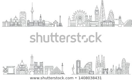paris france skyline city silhouette background stock photo © yurkaimmortal
