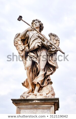 marble statue of angel of bernini with cross from the santangelo rome stock photo © dserra1