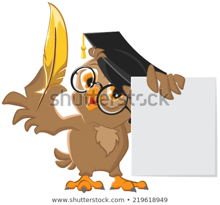 wise owl holding a golden pen and a sheet of paper stock photo © orensila